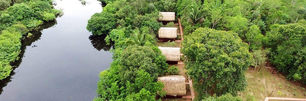 Vista aérea do Amazon Turtle Lodge